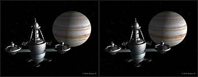 Immense Class Starbase - Gently Cross Your Eyes And Focus On The Middle Image Poster by Brian Wallace