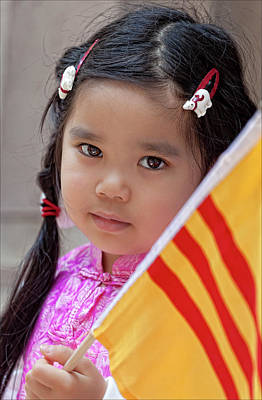 Immigrants Parade Nyc 6 25 11 Young Vietnamese Girl Poster by Robert Ullmann