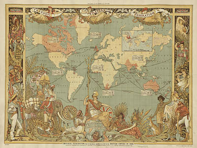Poster featuring the digital art Imperial Map by Digital Art Cafe