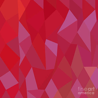 Imperial Purple Cadmium Red Abstract Low Polygon Background Poster by Aloysius Patrimonio