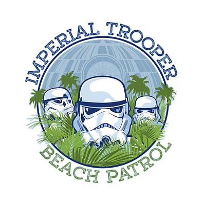 Imperial Trooper Beach Patrol Poster by Edward Draganski
