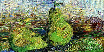 Poster featuring the painting Impressionism Green Pairs Oil Painting by Ginette Callaway
