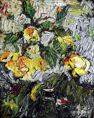 Poster featuring the painting Impressionism Last Yellow Roses by Ginette Callaway