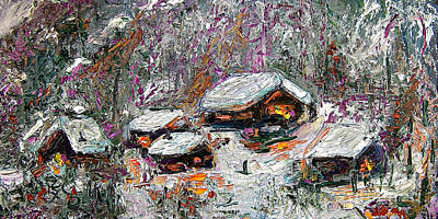 Poster featuring the painting Impressionism Winter Cabins by Ginette Callaway