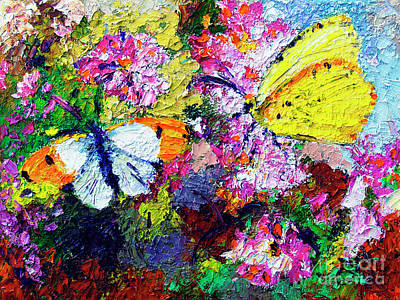 Poster featuring the painting Impressionist Butterflies In Summer Garden by Ginette Callaway