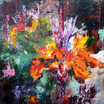 Impressionist Canna Flower Oil Painting  Poster by Ginette Callaway