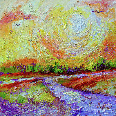 Poster featuring the painting Impressionist Sunny Day Landscape by Ginette Callaway