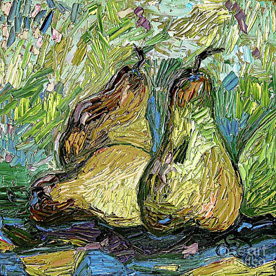 Poster featuring the painting Impressionist Trois Poires Oil Painting by Ginette Callaway