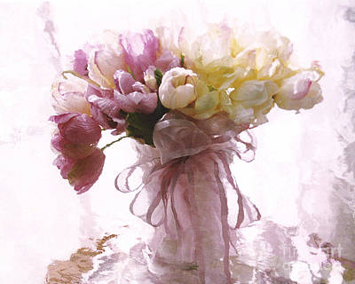 Impressionistic Floral Fine Art - Dreamy Pink Yellow Tulips Impressionistic Romantic Floral Art Poster by Kathy Fornal