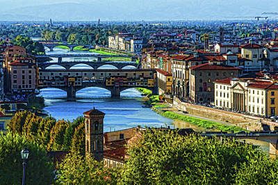 Impressions Of Florence - Long Blue Shadows On The Arno River Poster