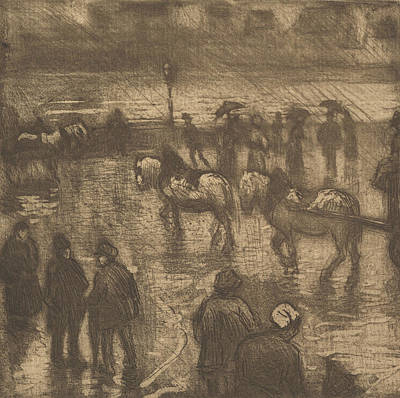 Impressions Of Rain, Rouen Poster by Camille Pissarro