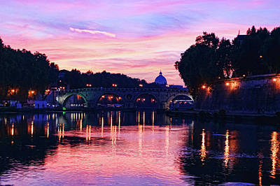 Impressions Of Rome - Glorious Sky Over Tiber River Poster by Georgia Mizuleva