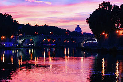 Impressions Of Rome - Tiber River Silky Current In Pink And Purple Poster by Georgia Mizuleva