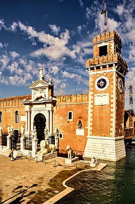 Impressions Of Venice - Arsenale Di Venezia Lions Poster by Georgia Mizuleva