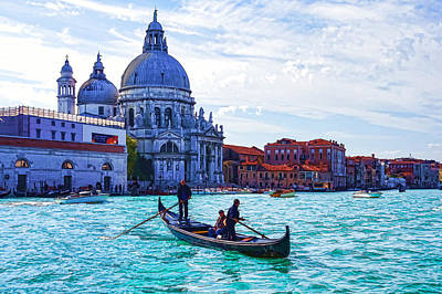 Impressions Of Venice Italy - Traghetto Crossing The Grand Canal Poster