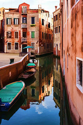 Impressions Of Venice - Wandering Around The Small Canals Poster by Georgia Mizuleva