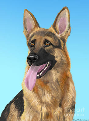 Impressive German Shepherd Painting With His Tongue Out Poster