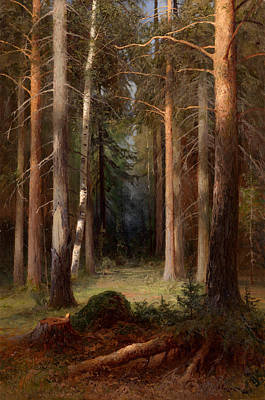 In A Pine Grove Poster by Alexei Pisemsky