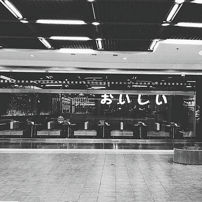 In Front Of Cafe With Perspective Of Decorated Ceiling And Floor Tile Black And White Color Poster