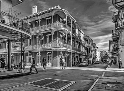 In The French Quarter - 2 Paint Bw Poster by Steve Harrington