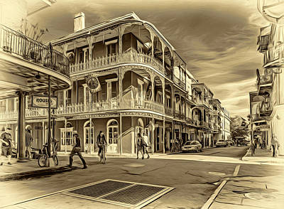 In The French Quarter - 2 Sepia Poster