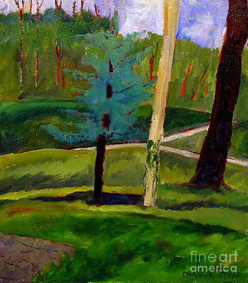In The Rough Blue Spruce Plein Air Poster by Charlie Spear