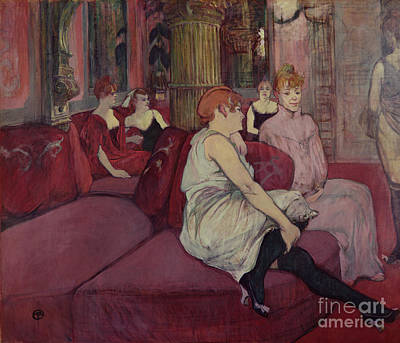 In The Salon At The Rue Des Moulins Poster by Henri de Toulouse-Lautrec