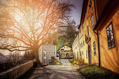 In The Shadow Of Salzburg Castle  Poster by Carol Japp