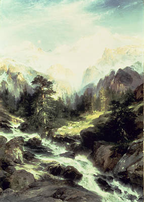 In The Teton Range Poster by Thomas Moran