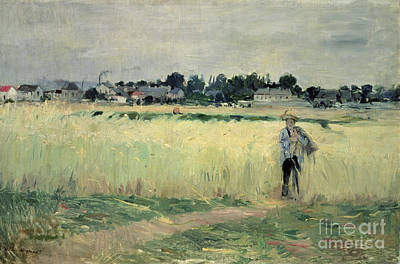 In The Wheatfield At Gennevilliers Poster by Berthe Morisot