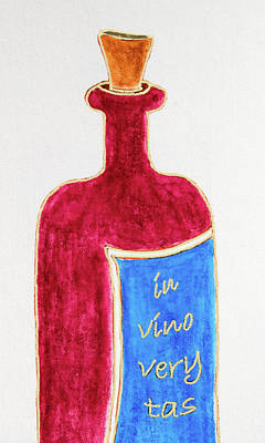 Poster featuring the drawing In Vino Very Tas by Frank Tschakert