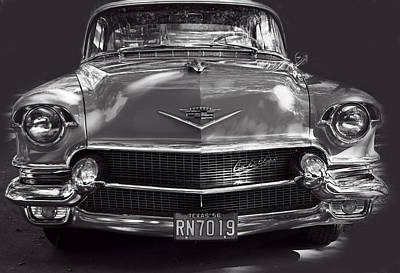 In Your Face - 1956 Cadillac Bw Poster by Linda Phelps