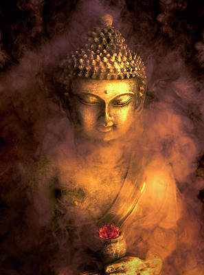 Poster featuring the photograph Incense Buddha by Daniel Hagerman