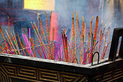 Incense Sticks Burning Poster by George Oze