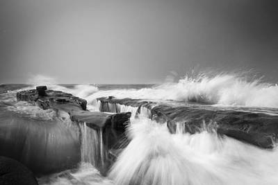 Incoming  La Jolla Rock Formations Black And White Poster by Scott Campbell