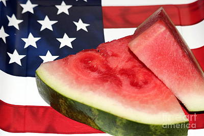 Independence Day And Watermelon Poster by Diann Fisher