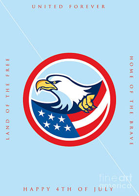 Independence Day Greeting Card-american Bald Eagle Clutching Flag  Poster by Aloysius Patrimonio