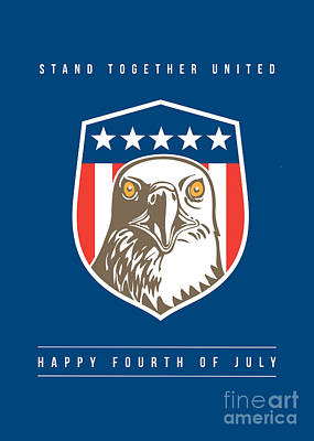 Independence Day Greeting Card-american Bald Eagle Head Stars Shield Poster by Aloysius Patrimonio