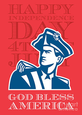 Independence Day Greeting Card-american Patriot Soldier Bust Poster by Aloysius Patrimonio