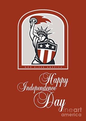 Independence Day Greeting Card-statue Of Liberty With Flaming Torch Shield Poster by Aloysius Patrimonio