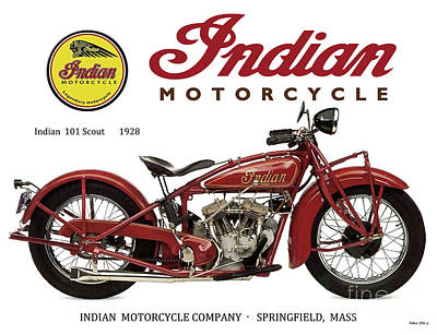 Indian 101 Scout, 1928, Motorcycle Sign, Vintage, Original Art Poster
