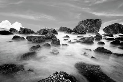 Indian Beach, Ecola State Park, Oregon, In Black And White Poster