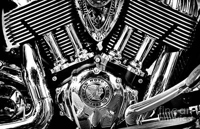 Indian Chief Engine Monochrome Poster by Tim Gainey