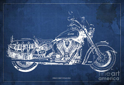 Indian Chief Vintage 2012 Blueprint Poster