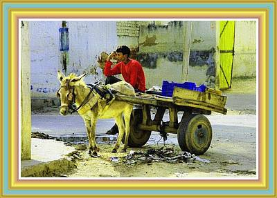 Indian Donkey Cart Owner H B With Decorative Ornate Printed Frame. Poster