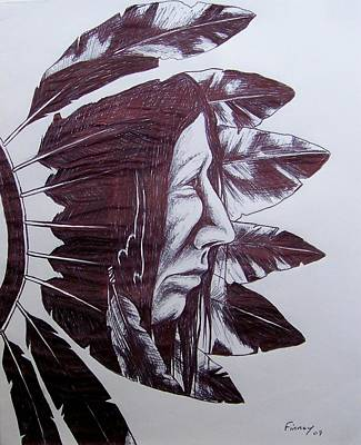 Poster featuring the drawing Indian Feathers by Michael  TMAD Finney