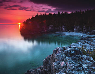 Indian Head Cove Sunrise Flare Poster by Cale Best