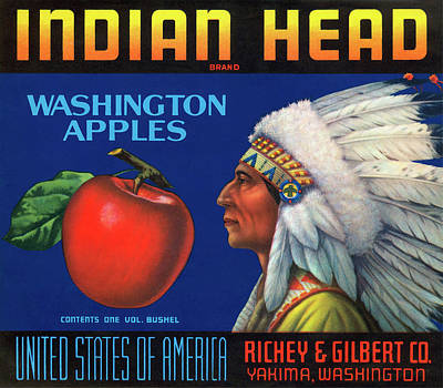 Indian Head Yakima Apples Crate Label Poster