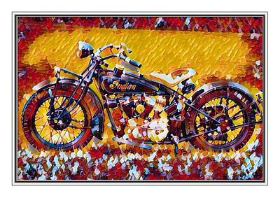Indian Motorcycle Colorful  Poster by Scott Wallace