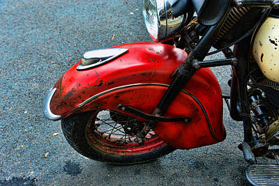 Indian Motorcycle Fender In Red Poster by Paul Ward